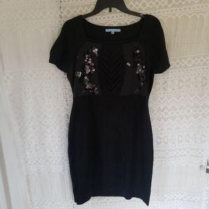Antonio Melani Cable Knit Sequin Sweater Dress